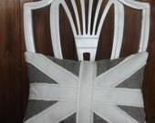British Union Jack  neutral grey linen freestyle throw decorative toss pillow