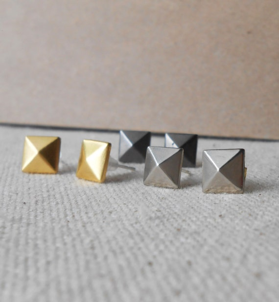 reduced - pyramid stud earrings gold silver gunmetal holiday gifts under 10 dollars