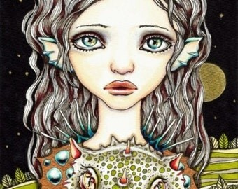 Queen of Dragons - surreal pop lowbrow fantasy art - 5x7 print of an original painting by Tanya Bond - dragon girl crown moon baby dragon