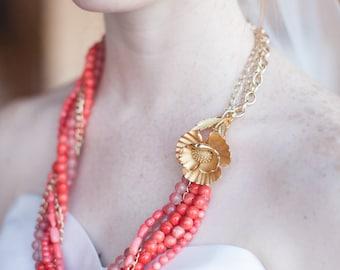 Coral and gold one of a kind statement necklace