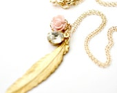 Feather and Pink Blush Rose 14K Gold Filled Charm Necklace