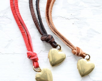 Minimal Long Heart Locket Leather Necklace, Long Heart locket nNecklace, Rustic Leather Necklace