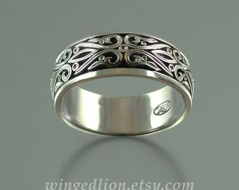 RESERVED for R. 5th payment - the PRINCE CHARMING 14k white gold mens wedding band