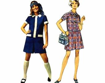 1960s Mod Pantdress Butterick 5235 Vintage Sewing Pattern Size 9 Bust 32