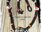 Lampwork Sugar Skull Necklace Dia De Los Muertos - Day of the Dead, Handmade SRA LETEAM Glassymom