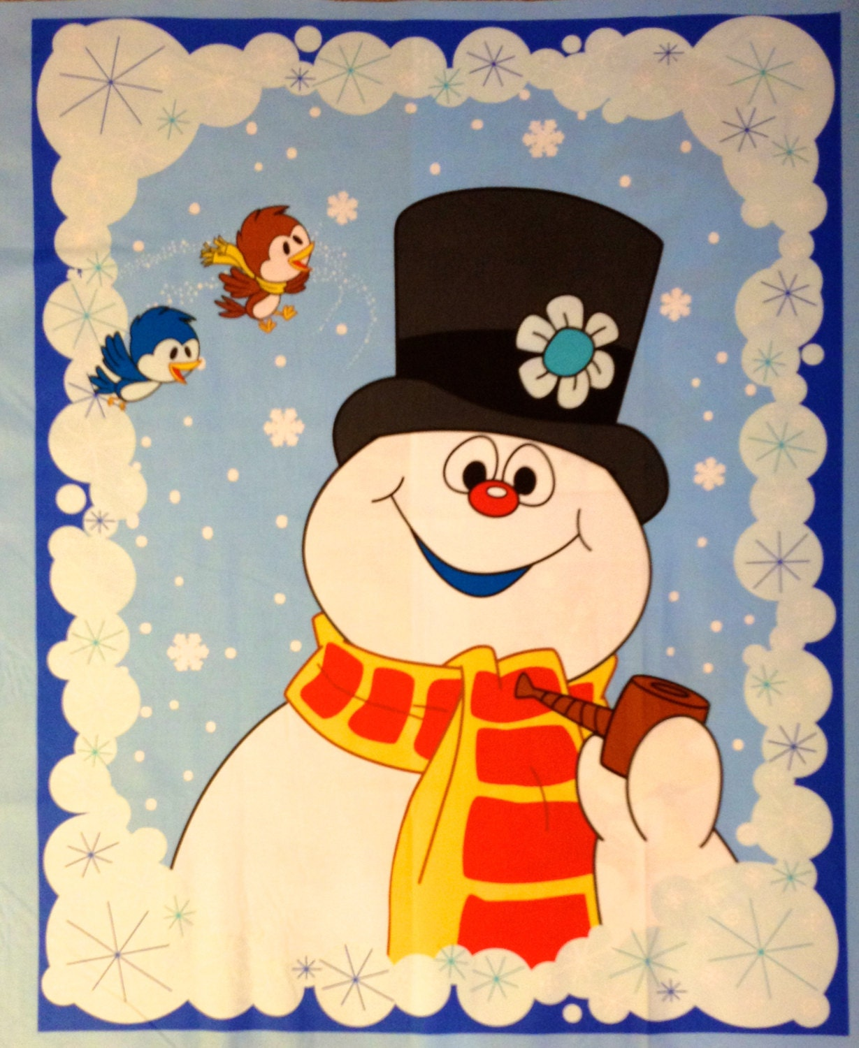 FROSTY THE SNOWMAN Christmas Fabric Three Snowmen Door
