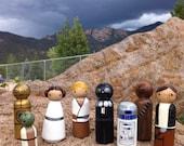 Star Wars Peg People PegBuddies Doll figurines Darth Vader, Leia, Yoda
