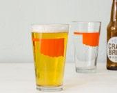 Oklahoma ORANGE pint glass SCREEN PRINTED single beer glass