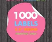 "Round Label Printing 1000 2.5"" Stickers Full Color Printing Glossy"