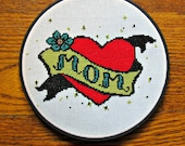 MOM tattoo cross-stitch pattern - mothers day, gift for her, gift for mom, modern cross stitch, tattoo x-stitch, heart with banner, cozyblue