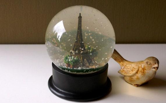 Paris Snow Globe Dome Eiffel Tower By Seedwingwonder On Etsy