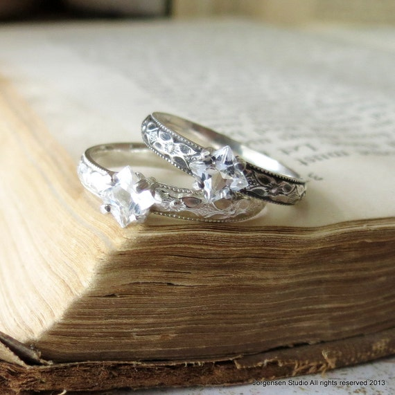 white topaz solitaire ring alternative engagement ring. Black Bedroom Furniture Sets. Home Design Ideas