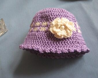 Newborn Purple Crochet Baby Hat With White Double Flower Pearl Center