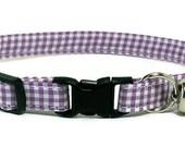 Cat Collar - Mini Purple Gingham - Breakaway Safety Cute Fancy Cat Kitten Collar