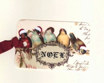 Vintage Christmas Tags - French Christmas - Noel - Birds - Vintage