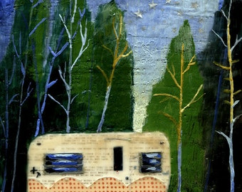 Camper Art Print - House Under the Stars
