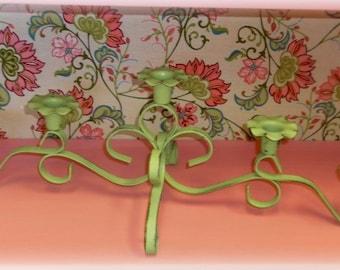 Lime Green Metal Vintage Candleholder / Candelabra - Cast Iron - Shabby Chic Beach Cottage Decor
