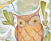 owl art - orange - watercolor - folk art - 8x10 archival limited edition - vertical print by cori dantini