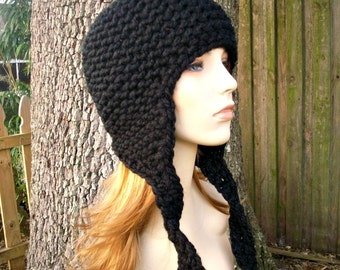 Black Womens Hat Mens Hat - Chunky Black Knit Hat Black Hat Black Beanie Black Ear Flap Hat - Womens Accessories Winter Hat