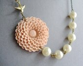 Statement Necklace Flower Necklace Dusty Pink Necklace Ivory Necklace Pearl Necklace Bridesmaid Jewelry Set Wedding Necklace Bridesmaid Gift