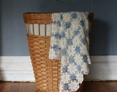 French Country Cottage Blue White Vintage Crochet Table