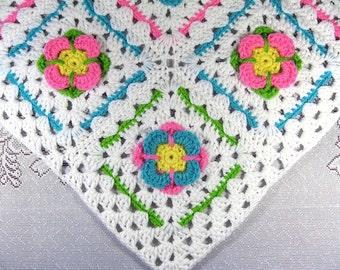 PDF Pattern Crocheted Baby Afghan, GERBER GARDEN Car Seat Baby Afghan Blanket Pattern