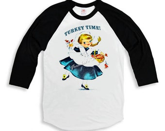 "Thanksgiving Shirt - Girl ""Turkey Time"" Tee - Baseball Thanksgiving Shirt - Custom Size Girl - Dinner Vintage Retro Infant to Youth Sizes"