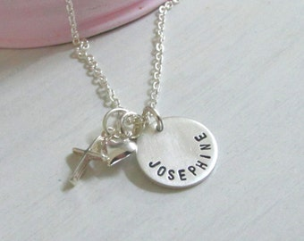 A Girl and her Faith .. Girls Hand Stamped Name Necklace ...Personalized Jewelry ...Stamped Necklace... Cross and Heart... Girls Jewelry