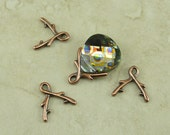 4 TierraCast Large Briolette Vine Pinch Icepick Bails - Copper Plated Lead Free Pewter - I ship internationally 5668