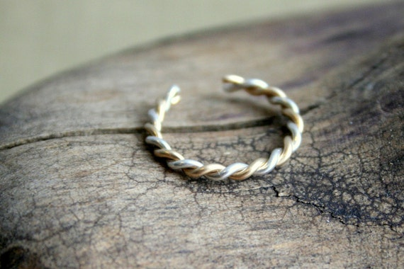 Sterling Silver & Yellow GoldFilled Twisted Toe Ring- Two Tone