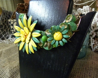 True Vintage Garden Inspired Green and Yellow Bib style Necklace on golden base