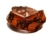 Leather Belt Printed w Carousel Animals: Horse, Lion, Tiger, Zebra, Panda, Monkey