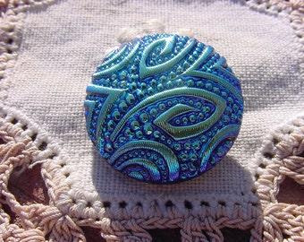 Metallic Midnight Blue Mod Design Czech Glass Button