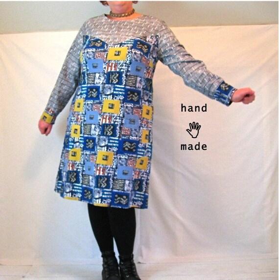 SALE - Copacetic Dress -- plus size 22 / size 24 -- long sleeve, A-line, Mod -- vintage graphic print cotton mashup -- 48B-46W-53H