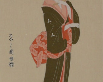 Tenugui 'Geisha' Cotton Japanese Geisha Fabric w/Free Shipping