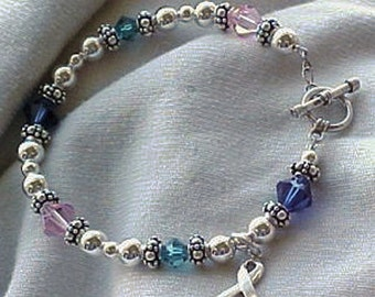 Thyroid Cancer Awareness Hand-crafted Bracelet w/ Swarovski Crystals & Sterling Silver