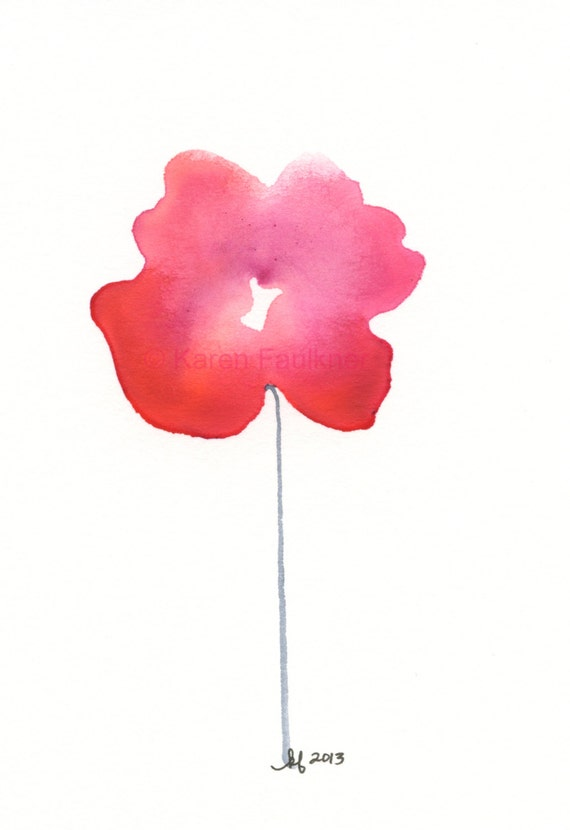 "Watercolor flower print: ""Red-Violet Posy"""