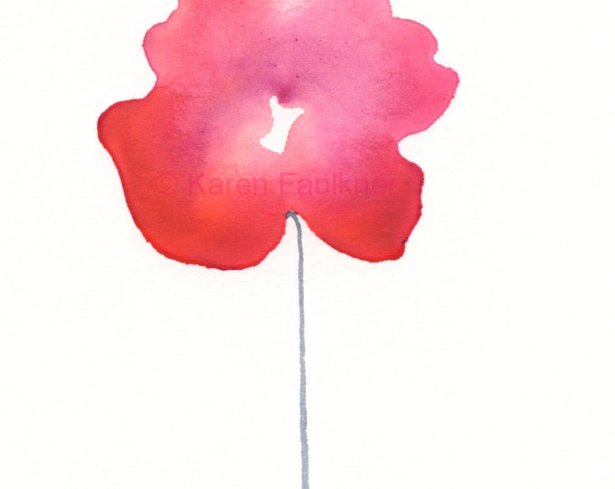 """Watercolor flower print: """"Red-Violet Posy"""""""