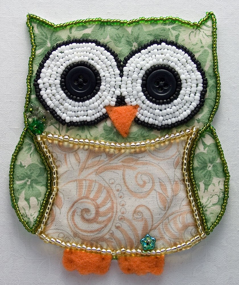 Bead embroidered owl green mixed media art made to