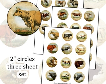"Antique Cows 2"" circle digital collage sheet farm animal herd 50mm round"