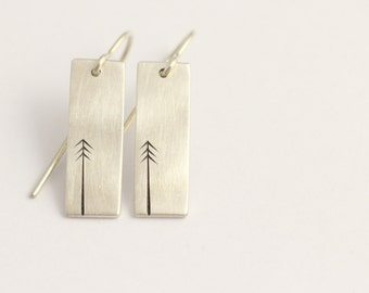 Earrings in sterling silver with pine trees