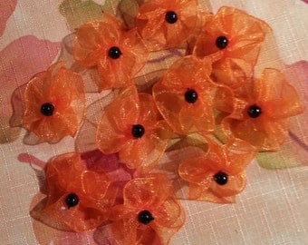 Puppy Dog Grooming Bows Orange Halloween Organza  - 10 Round Bows