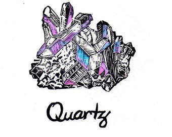 Quartz crystal linocut with iridescent facets - Lino Block Print Mineral Crystal Quartz
