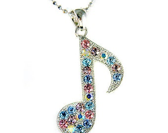 Swarovski Crystal Pastel Piano MUSIC musical Eighth NOTE Quaver Chain Charm Pendant Necklace Jewelry Christmas Best Friend Musican Gift New