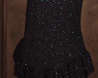 Black Glitter Peplum Crinkled Dress Vintage Diamonds Run by Wayne Diamond Party Avant Garde Size 13-14