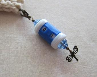 Customizable Stitch Counter - Blue Antique Brass