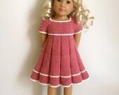 PLEATED SUMMER DRESS too slim 18 inch doll Kidz n Cats  Knitting pattern (# 042 too slim)