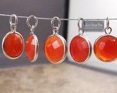 Chalcedony Charm, Orange Gemstone Pendant with Silver Plated Bezel, Jewelry Supplies, Bridesmaid Jewelry (C-Ra2g)