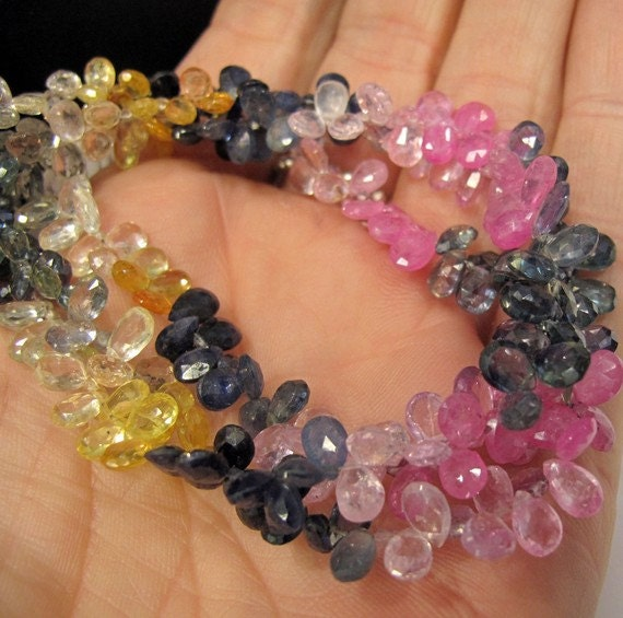 Natural Sapphire Gemstone Beads,  Faceted Pear Shaped Multi Sapphire Briolette Teardrops, 3.5 Inches, 40 Stones (Luxe-Sa3)