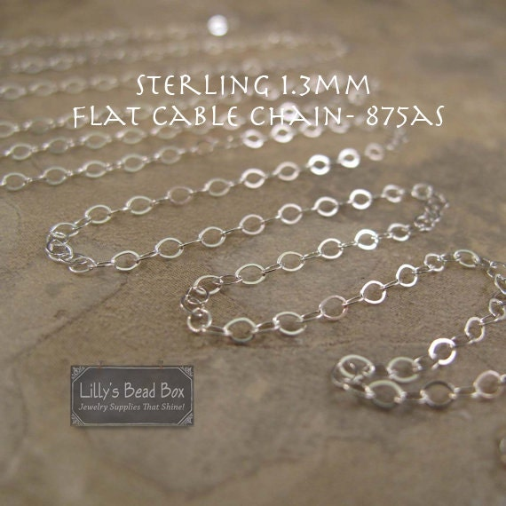Ten Feet of Silver Chain, Flat Cable Chain, 10 Feet of 1.3mm Sterling Silver Chain for Making Jewelry, Thin Silver Chain (875as)